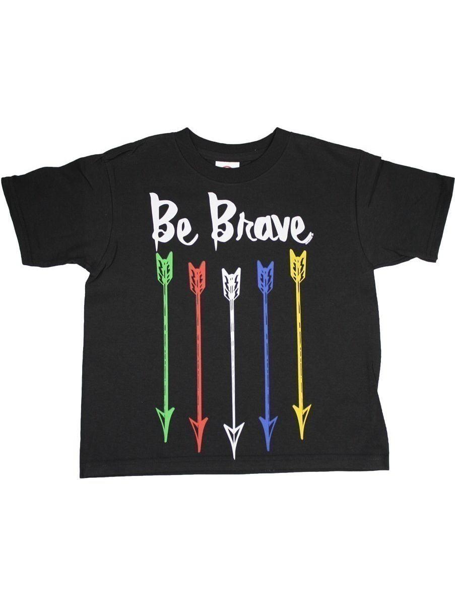 """Unisex Little Kids Black Multi Color Arrow """"Be Brave"""" Print Cotton T-Shirt"""