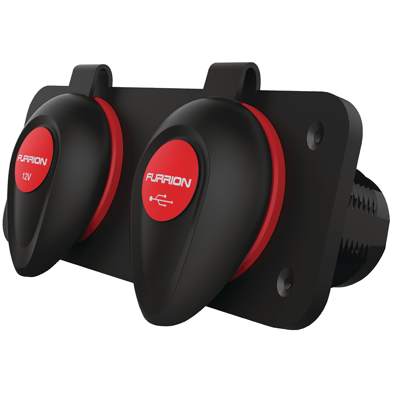 Furrion F12VRSB Black & Red Dual RV USB Port & 12V Receptacle