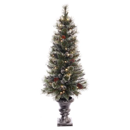Puleo International 4 ft Pre-lit Glitter Potted Artificial Christmas Tree 50 UL listed Clear Lights](International Christmas Decorations)