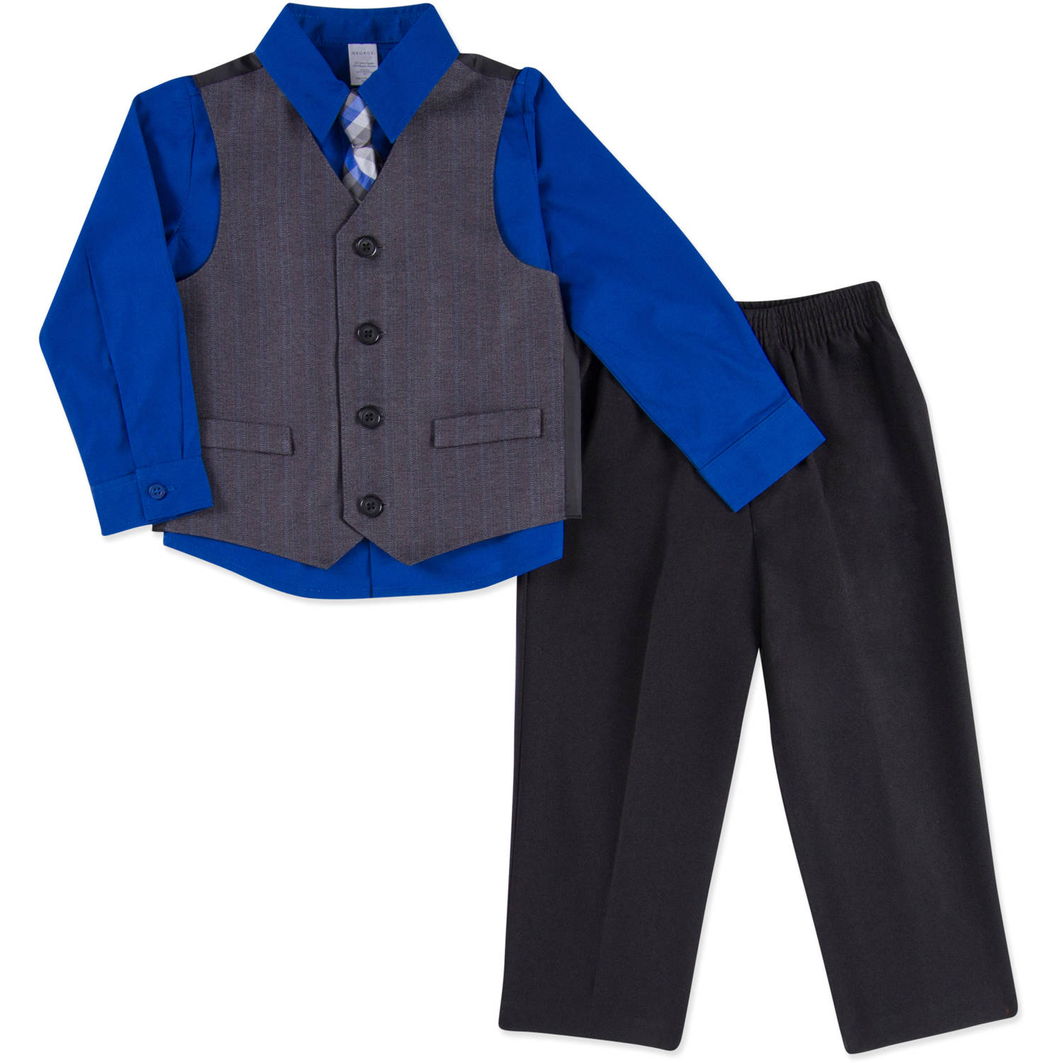 George Baby Toddler Boy Boy Special Occasion Dressy Vest, 4-Piece Outfit Set
