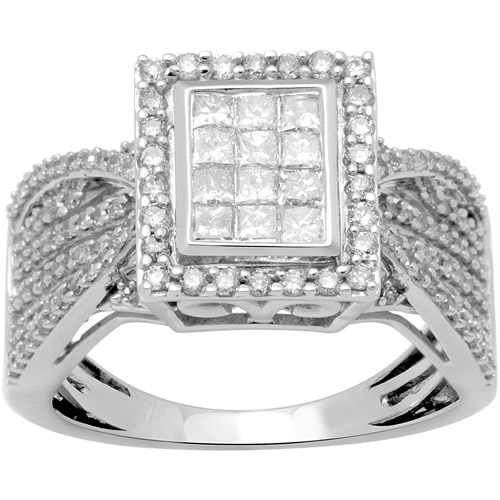1 Carat T.W. Princess and Round Diamond 10kt White Gold Engagement Ring by Generic