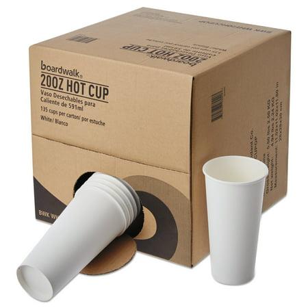 Boardwalk Convenience Pack Paper Hot Cups, 20 oz, White, 135/Carton -BWKWHT20HCUPOP