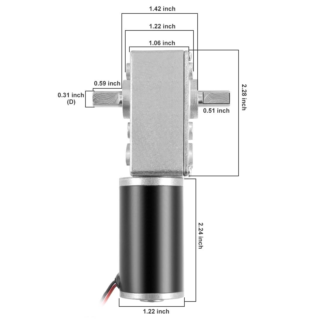 Arbre Moteur Engrenage Vis Sans Fin Double DC 12V 110RPM Moteur Réduction Vitesse - image 6 de 7