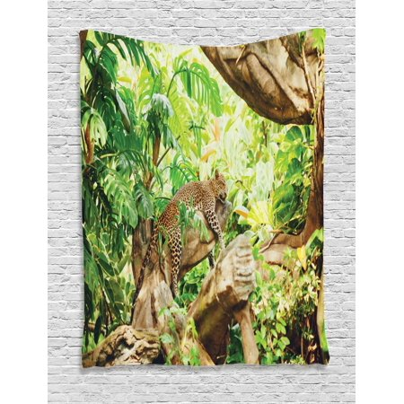 Safari Tapestry, Leopard on the Branch in Savannah Exotic Macro Tropical Leaf Jungle Wild Nature Art, Wall Hanging for Bedroom Living Room Dorm Decor, Brown Green, by Ambesonne