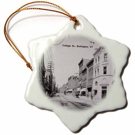 3dRose Church St., Looking North From College St., Burlington, VT (Vintage to 1906) - Snowflake Ornament, 3-inch ()