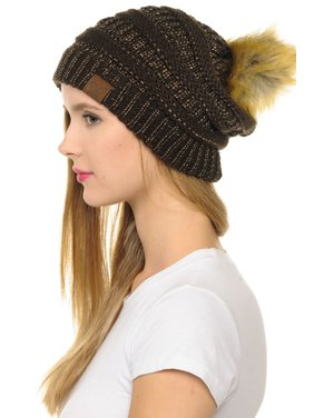 C.C Hat-43 Thick Warm Cap Hat Skully Faux Fur Pom Pom Cable Knit Beanie Metallic Brown