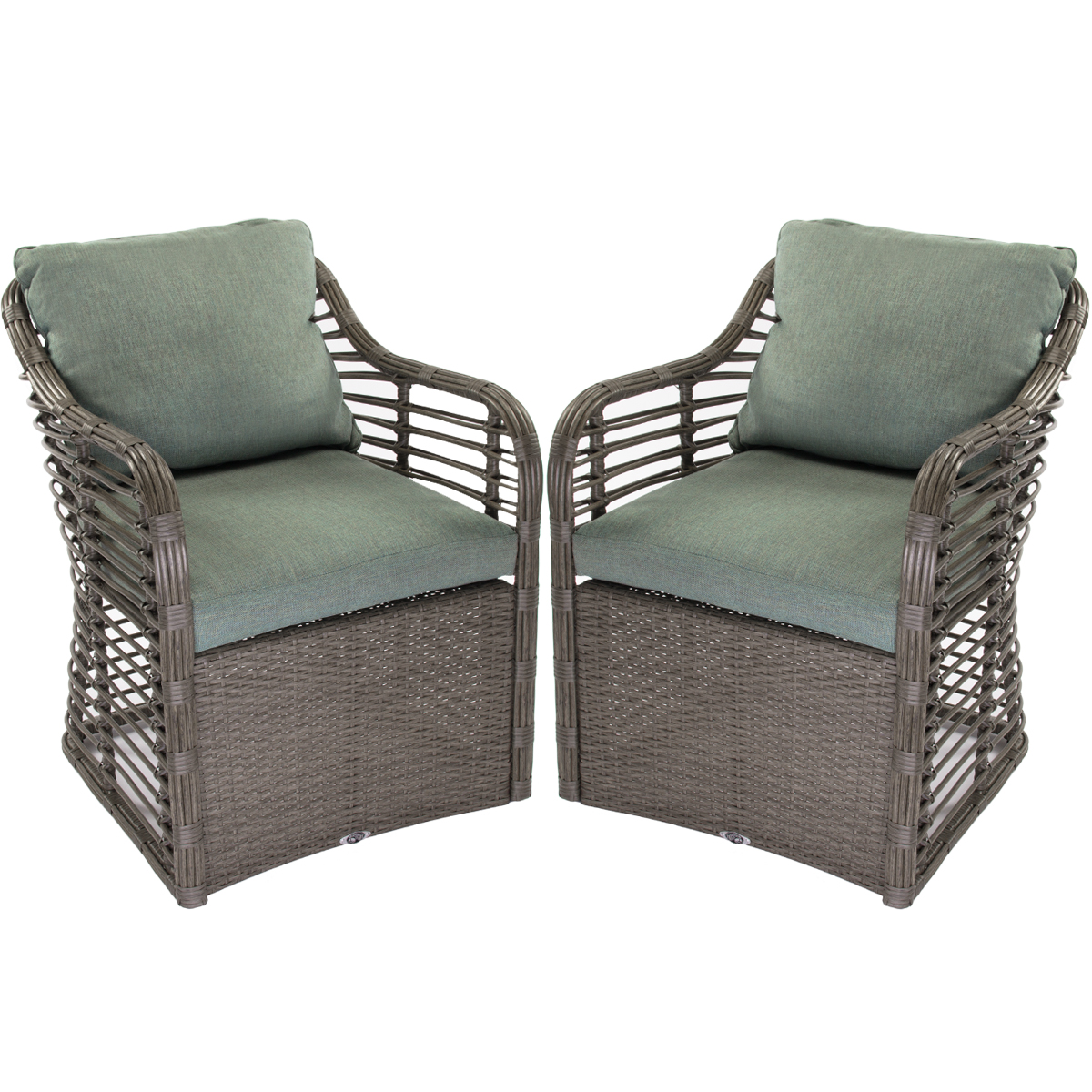Hampton Bay Set of 2) Outdoor Wicker Lounge Chairs Cushio...