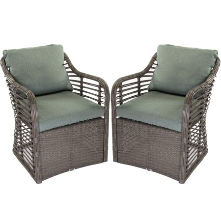 Enjoyable Hampton Bay Set Of 2 Outdoor Wicker Lounge Chairs Cushions Resin Garden Patio Pabps2019 Chair Design Images Pabps2019Com