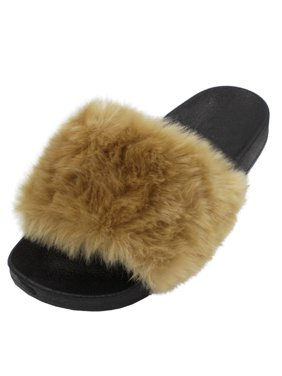 LAVRA Women's Faux Fur Slide Slip On Fuzzy Sandals