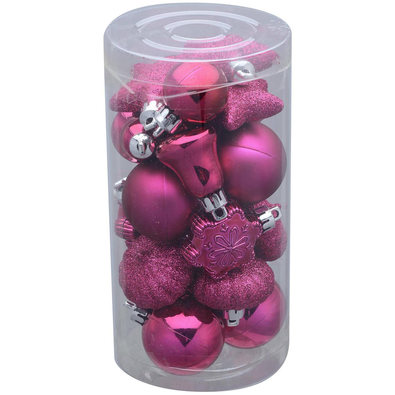 Holiday Time 20-Pack Mini Ornaments, Fuschia