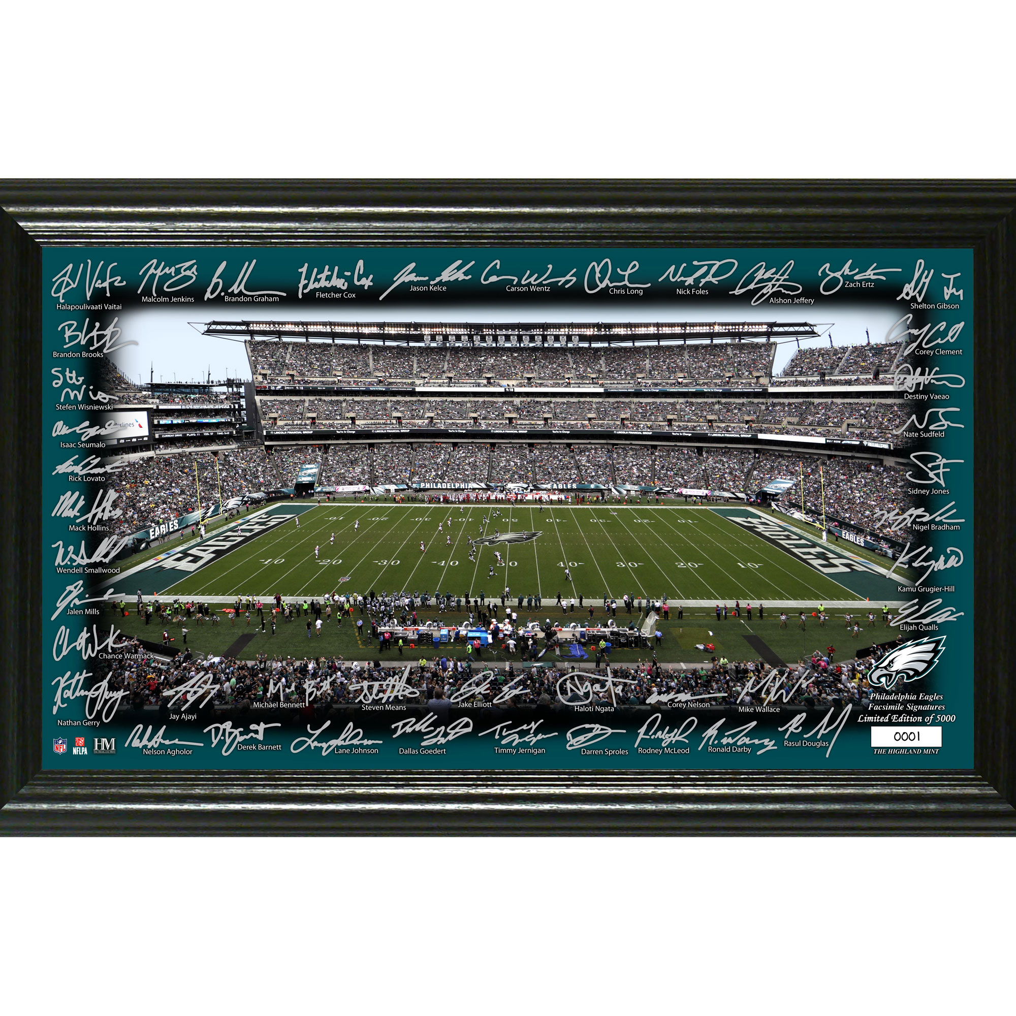 "Philadelphia Eagles Highland Mint 12"" x 20"" Signature Gridiron Panoramic Photo Mint - No Size"