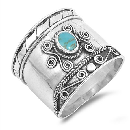 Simulated Turquoise Boho Bali Bead Dot Handmade Ring .925 Sterling Silver Band Size 7 Persian Turquoise Ring
