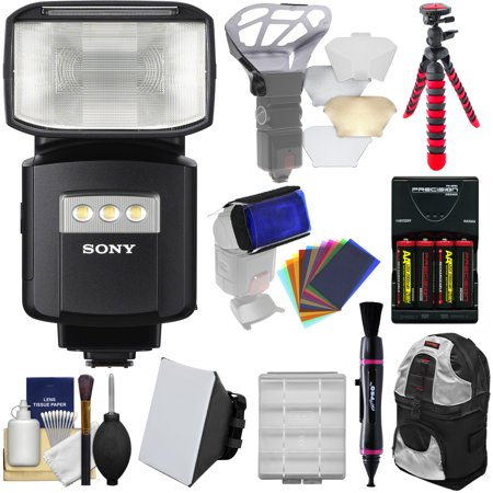 Sony Alpha HVL-F60RM Radio-Control Wireless Flash with Video Light + Soft Box + Bouncer + Color Gels + Batteries & Charger + Backpack + Tripod (Gel Trim)