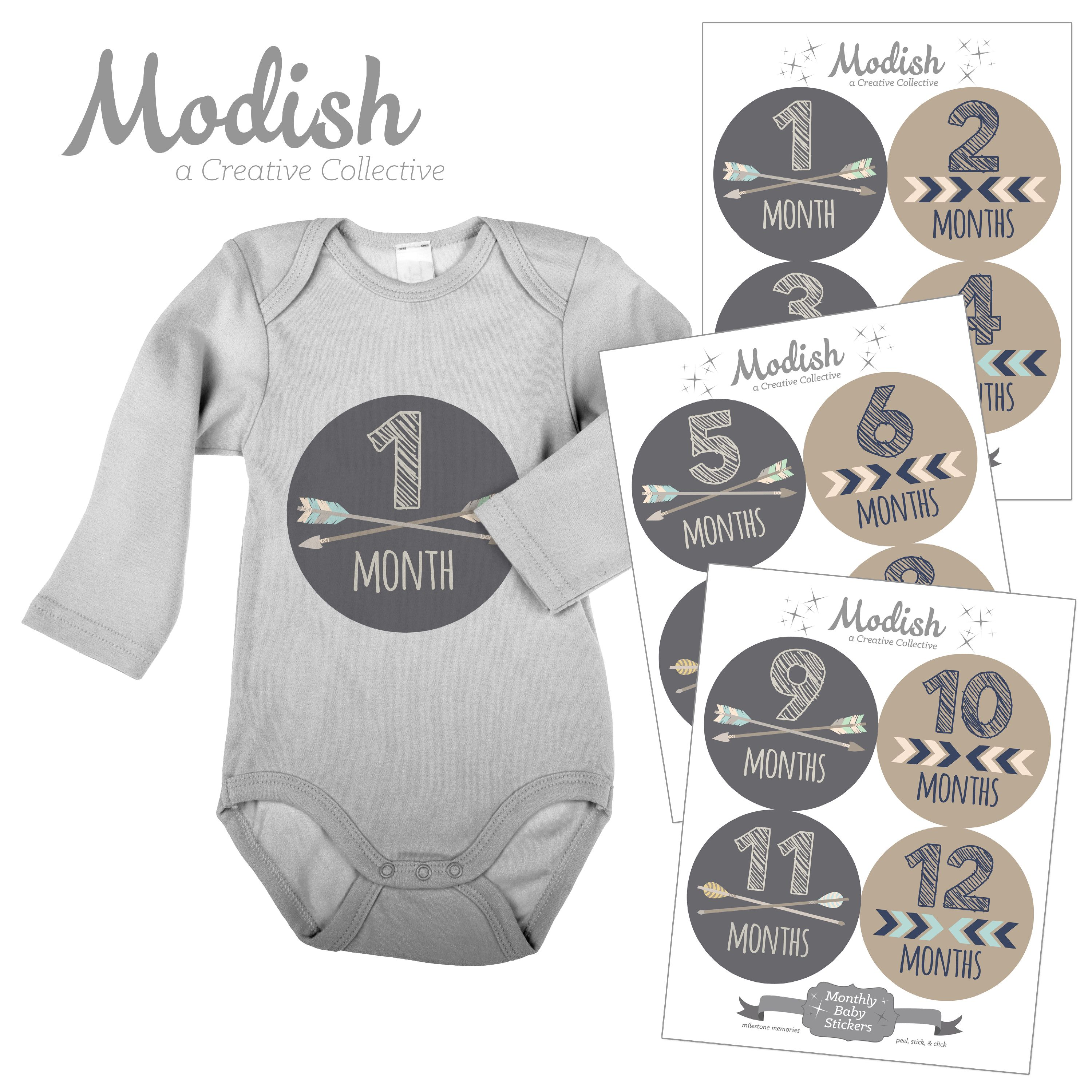 Modish Monthly Baby Stickers, Boy, Tribal, Arrows, Chevron, Brown, Gray, Baby Photo Prop, Baby Shower Gift, Baby Book Keepsake