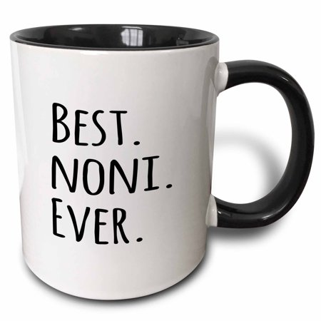3dRose Best Noni Ever - Gifts for Grandmothers - Grandma nicknames - black text - family gifts, Two Tone Black Mug,