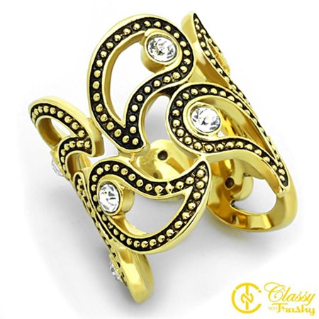 Classy Not Trashy® Size 7 Women's Yin and Yang Symbols with Clear Crystal Cuff Ring