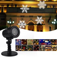 Waterproof Snowflake Rotating Projector Lights,12 Pattern LED Moving Projector Landscape Stage Light Indoor Outdoor Decoration for Halloween Thanksgiving Christmas Carnival New Year Birthday