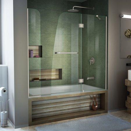 - DreamLine Aqua 56-60 in. W x 58 in. H Frameless Hinged Tub Door with Extender Panel in Brushed Nickel