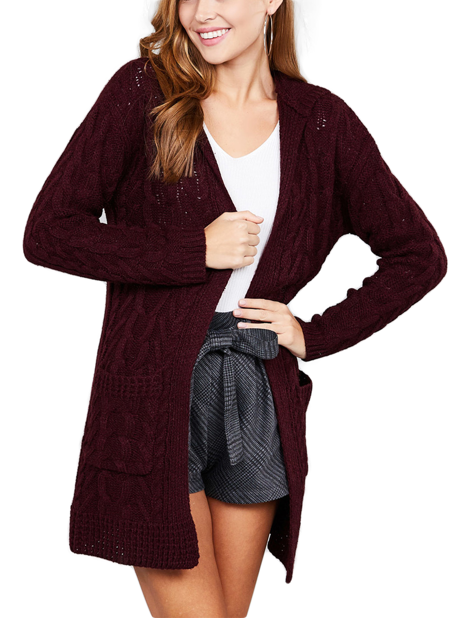 8e1dbb09651 KOGMO Womens Cable Knit Long Cardigan with Hoodie & Pockets