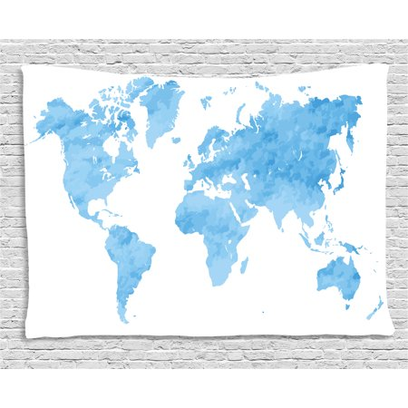 Map Tapestry, Blue Watercolor Style World Map Artistic Pastel ...