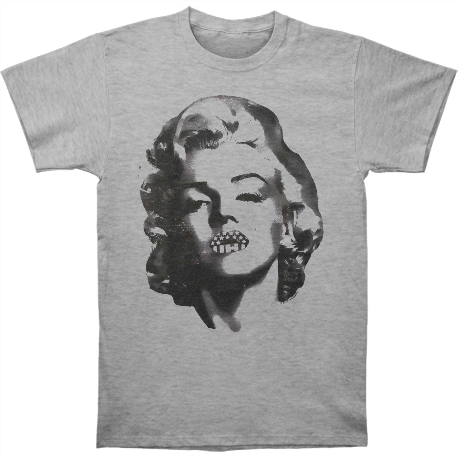 Marilyn Monroe Men's  Lips Slim Fit T-shirt Gray Heather