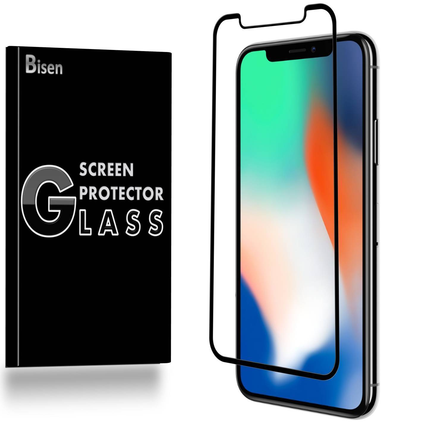 iPhone X (2017 Release) [BISEN] 3D Curved Full Cover Tempered Glass Screen Protector [Case Friendly], Edge-To-Edge Protect, Anti-Scratch, Anti-Shock