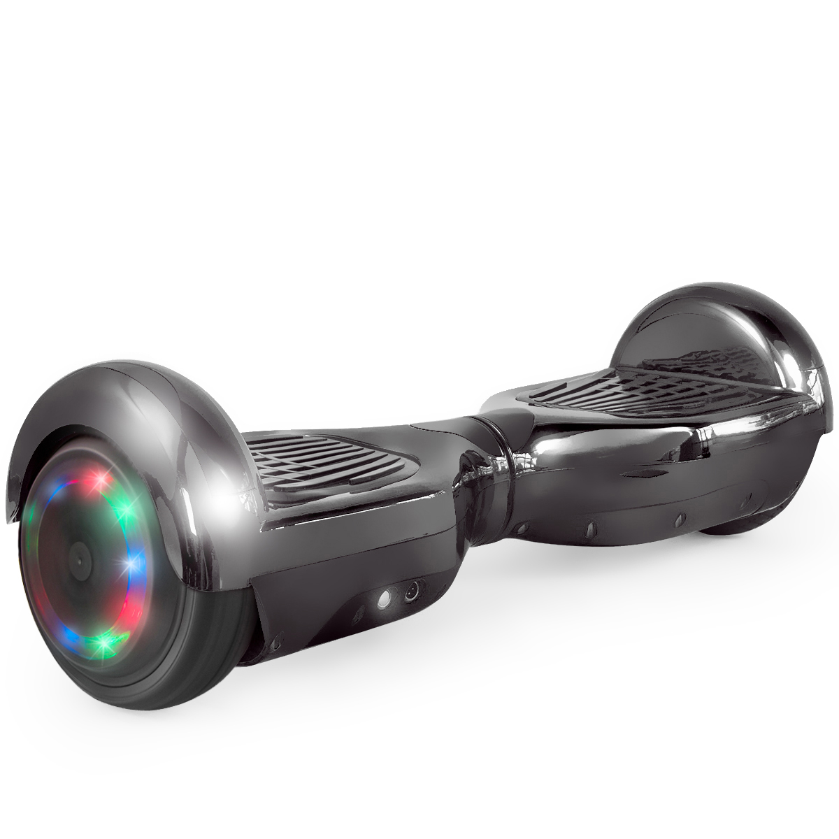 New Bluetooth Hoverboard UL2272 Certified Smart Self Balancing Electric Scooter with LED Lights- Chrome Black