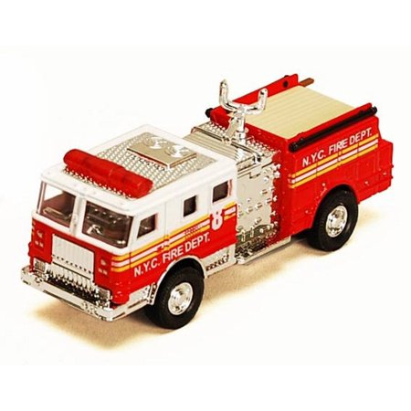 NYC Fire Engine w/ Water Cannon, Red - Showcasts 9923/4D - 4.75 Inch Scale Diecast Model Replica (Brand New, but NOT IN BOX)