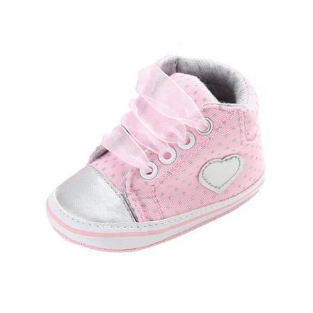 Infant Baby Girl Laces Ankle Shoes Soft Bottom Anti-Slip Prewalker