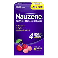 Nauzene For Upset Stomach And Nausea Relief Chewable Tablets, Wild Cherry Flavor, 42 Ea, 2 Pack