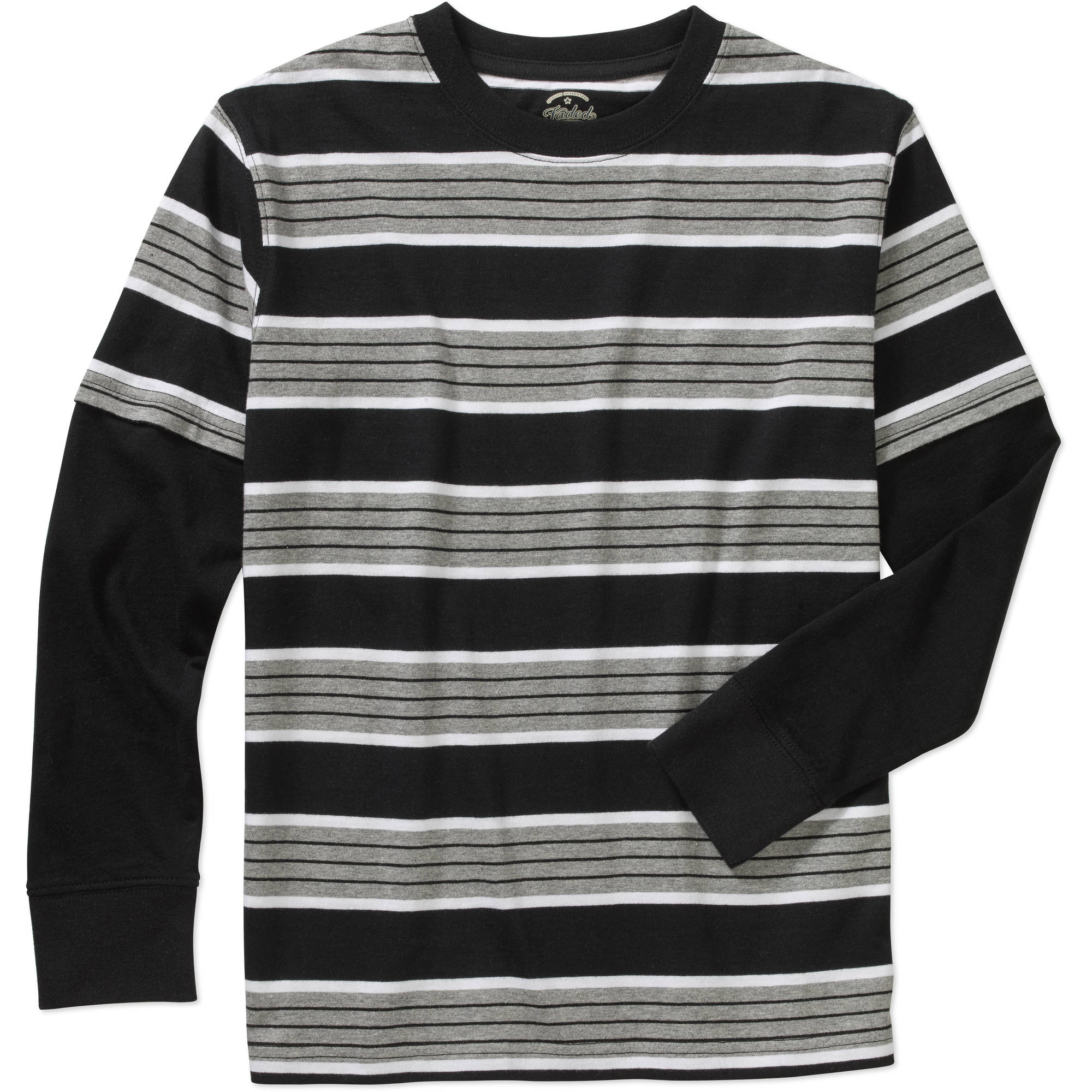 Faded Glory Boys' Long Sleeve Hangdown Crew Tee