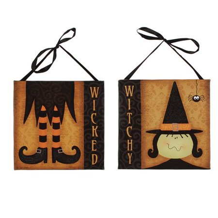Blossom Bucket 2 Piece \'Witchy\' Witch Face/Feet Box Signs Wall Decor ...