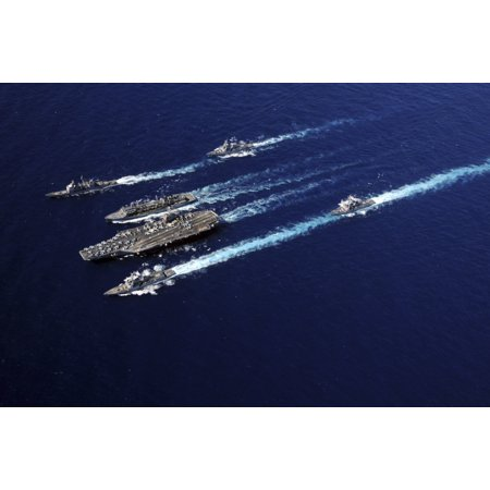 The Abraham Lincoln Carrier Strike Group Ships Cruise In Formation In The Pacific Ocean Canvas Art   Stocktrek Images  34 X 23