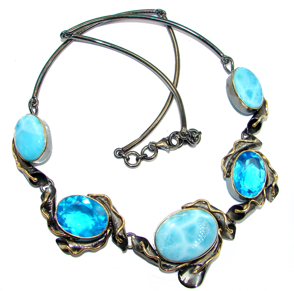 Larimar Swiss Blue Topaz Rose Gold Rhodium plated over Sterling Silver handmade necklace by SilverRush Style by