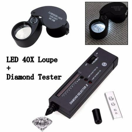Jeweler Set Gemstone Diamond Selector II + 40X Glass Eye Loupe Magnifier (Loupe Gem)