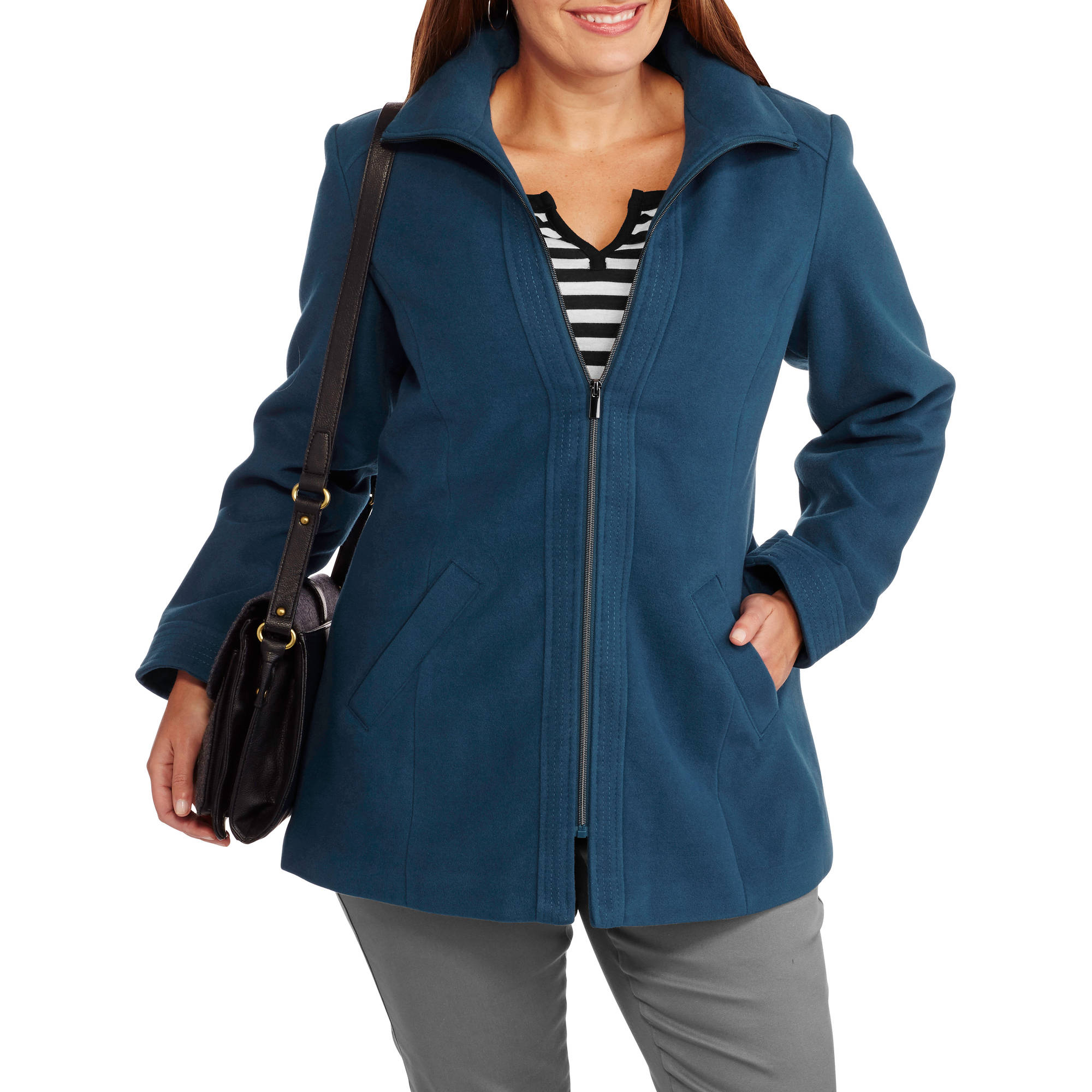 Women's Plus-Size Zip-Front Faux Wool Coat