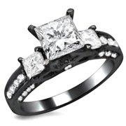 Noori Collection Noori 14k Black Gold 1 1/2ct TDW 3 Stone Princess Cut Diamond Engagement Ring