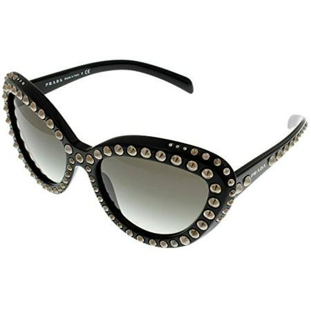Prada Milano Sunglasses Womens Black Cateye PR31QS 1AB0A7 Size: Lens/ Bridge/ Temple: (Prada Woven Band)