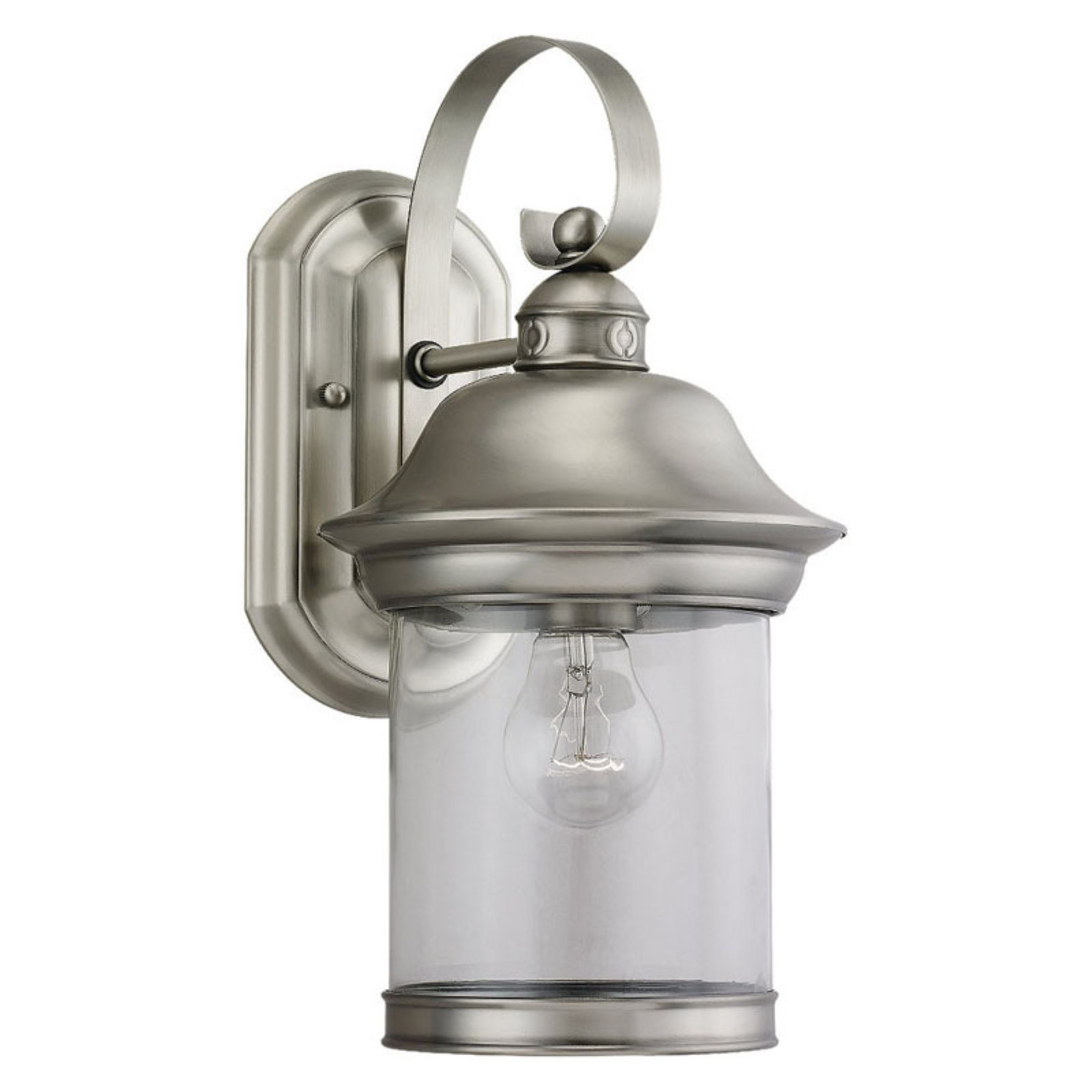 Sea Gull Hermitage Outdoor Wall Lantern - 13.5H in. Antique Brushed Nickel