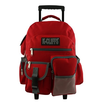 Wheeled Hockey Backpack (Rolling Backpack Heavy Duty School Backpack with Wheels Deluxe Rolling Book Bag Daypack multiple Pockets Red)