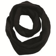 SC35 - BLACK - A04 Double ribbed wide infinity scarf