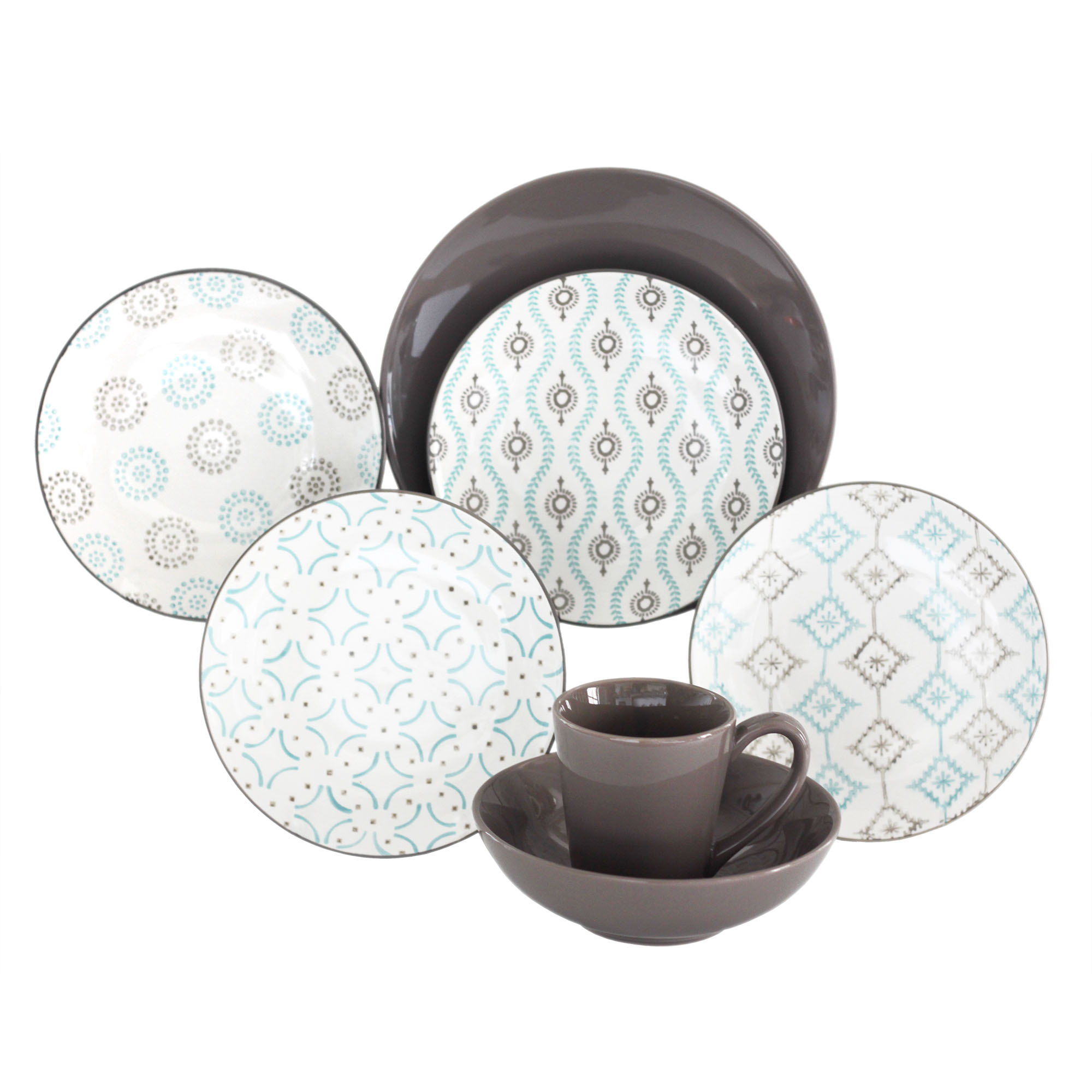 Aura Patterned 16-piece Dinnerware Set by Baum Brothers Imports