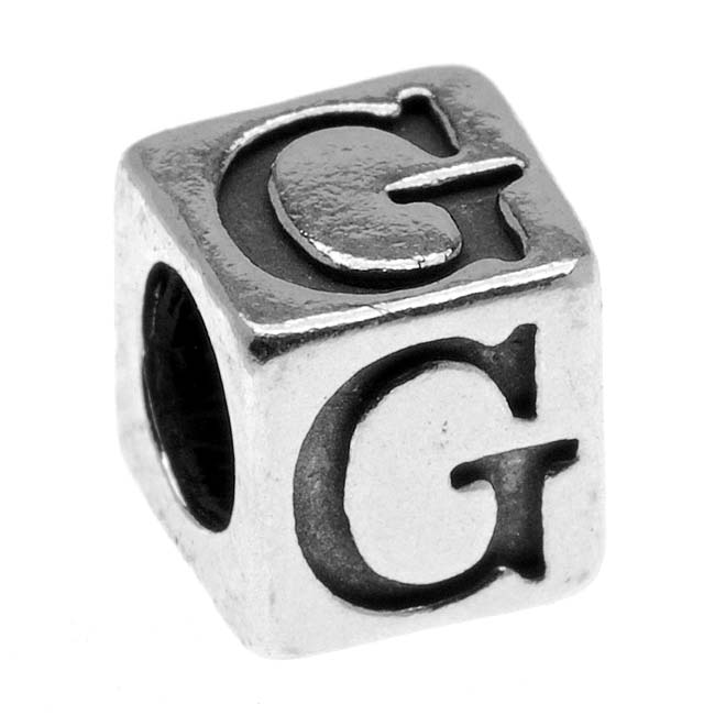 Sterling Silver, Alphabet Cube Bead Letter 'G' 4.5mm, 1 Piece, Antiqued