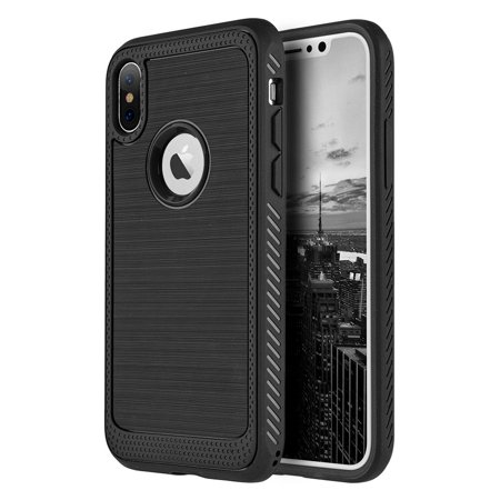 Apple iPhone X Case Rugged Flexible Extreme Tough Protection Durable Anti-Slip TPU Heavy Impact Shock Absorbent Case for Apple iPhone X - Black Durable Anti Slip Protection