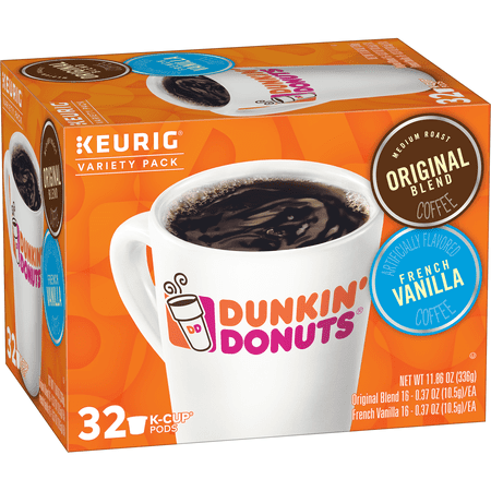 Dunkin' Donuts Original Blend & French Vanilla Ground Coffee K-Cup Pods, Variety Pack, 32-Count (Donuts D'halloween)