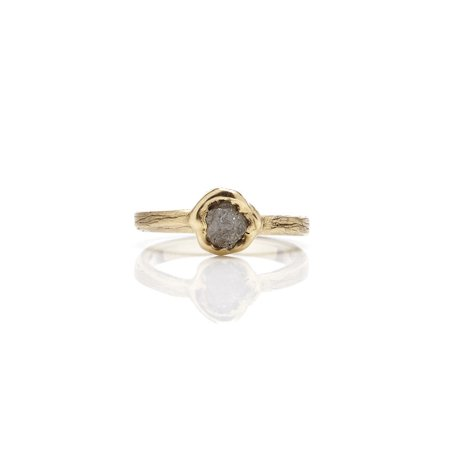 1 Carat Rough Raw Gray Diamond Solitaire Engagement Ring On 18K Yellow Gold Over Silver