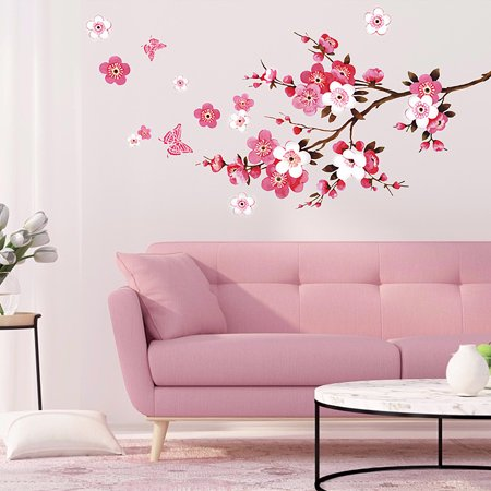 Large Cherry Blossom Flower Butterfly Tree Removable Diy Wall Art Sticker Home Bedroom Living Room Decoration Vinyl Decal Walmart Canada