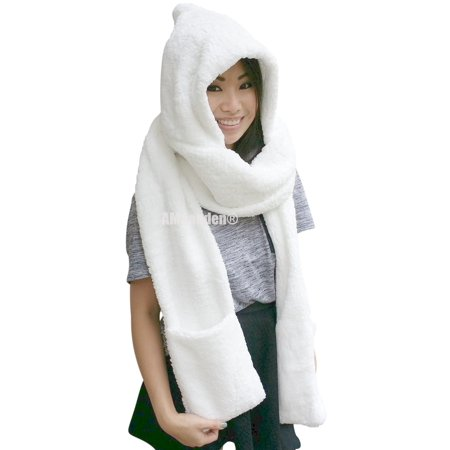 Ribbed Wool Gloves (Ladies Wool Velvet Soft All In One Soft Hood Hats Scarf Gloves(White))