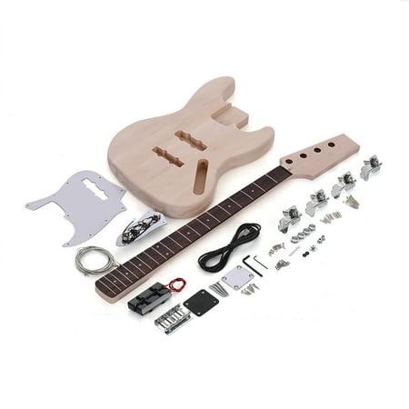JAZZ Bass Style 4-String 21 Frets Electric Bass Solid Basswood Body Maple Neck Rosewood Fingerboard DIY Kit (Best Jazz Bass Bridge)