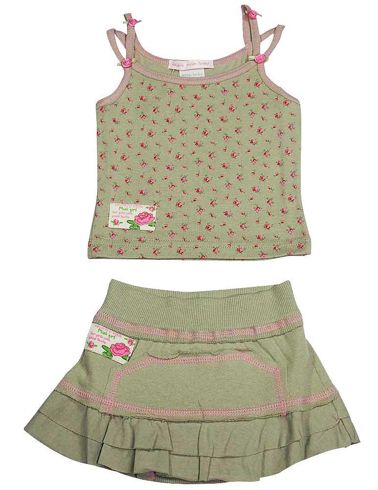Mishmish - Baby Girls Floral Skort Set Beige / 6 Months